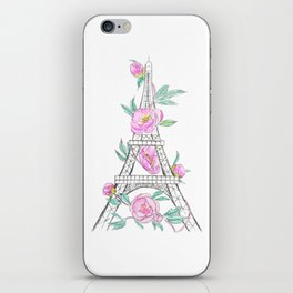 Eiffel tower and peonies iPhone Skin