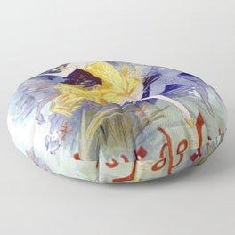 Folies Berg Res Fleur De Lotus 1893 By Jules Cheret | Reproduction Art Nouveau Floor Pillow