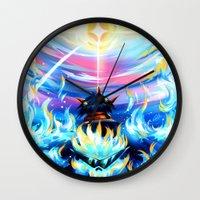 gurren lagann Wall Clocks featuring Gurren Lagann - Burning Soul by Cielo+