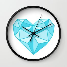 Geometric Diamond Heart - Topaz Wall Clock