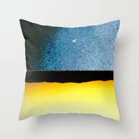 moon phase Throw Pillows featuring New Moon - Phase I by Marina Kanavaki