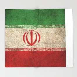 Old and Worn Distressed Vintage Flag of Iran Throw Blanket