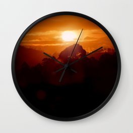 Sunset on the wild forest in the Andes Mountains Wall Clock