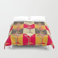 mod Duvet Covers featuring Mod Martinis by Holly Helgeson