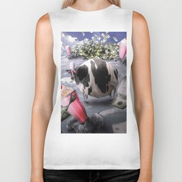 Funny Fat Moon Cow Milkshake Cash Biker Tank