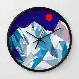 Snowy mountain, red sun Wall Clock