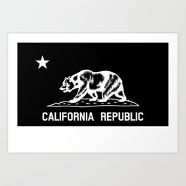 The Bear Flag - Black and White Art Print