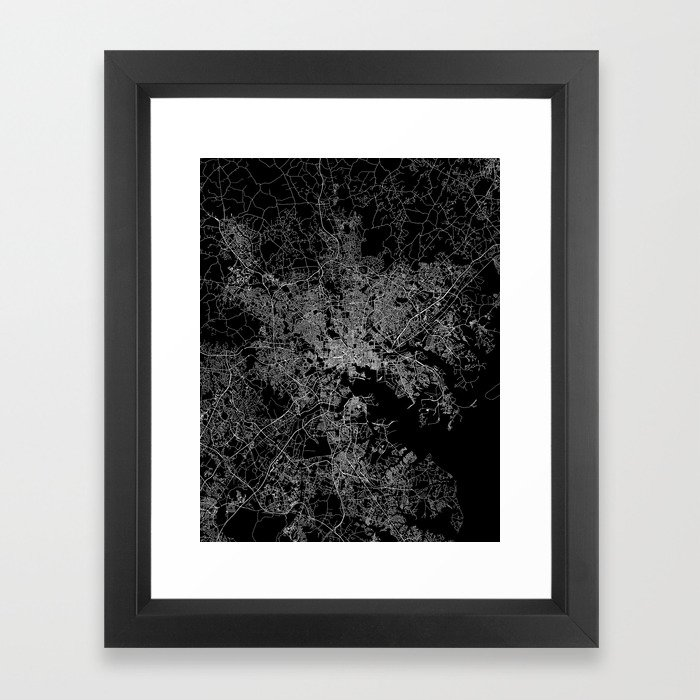 Baltimore map Maryland Framed Art Print