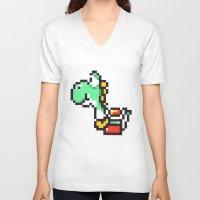 yoshi V-neck T-shirts featuring yoshi by Walter Melon