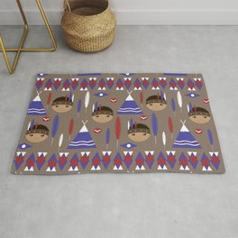 Seamless kids cute American indian native retro background pattern Rug