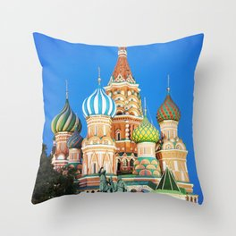 Colorful Moscow church Throw Pillow