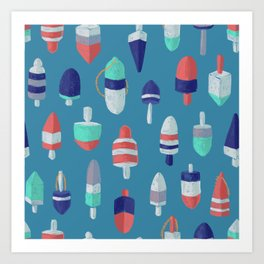 Lobster Buoys RBW on ocean blue Art Print