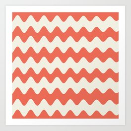 Pantone Living Coral & Cannoli Cream Soft Zigzag Rippled Horizontal Line Pattern Art Print