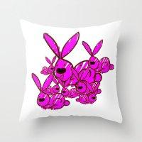 bunnies Throw Pillows featuring Bunnies by Christa Bethune Smith