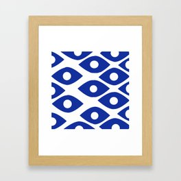 Blue and White Pattern Fish Eye Design Framed Art Print