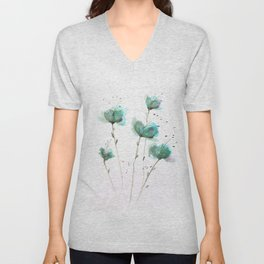Delicate Cascade Green Blue Watercolor Flowers Unisex V-Neck