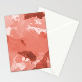 Pantone Living Coral Splatters Watercolor Camo Patchy Digital Art Stationery Cards