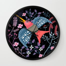 Flowered hummingbird Wall Clock