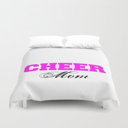 Cheer Mom Typography in Pink and Black Duvet Cover