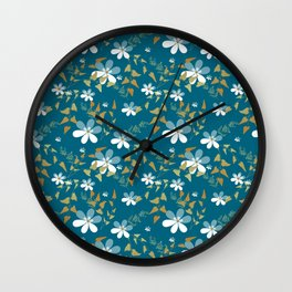 White flowers on a blue background . Wall Clock