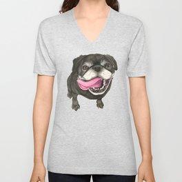 Black Pug Dog Unisex V-Neck