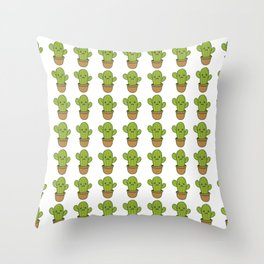 Can't Touch This Cute Happy Smiling Cactus Throw Pillow