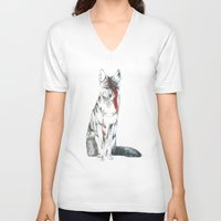 coyote V-neck T-shirts featuring Coyote II by Susana Miranda ilustración