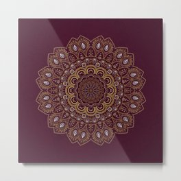 Gold Mandala Mosaic on Royal Red Metal Print