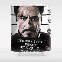 sansa stark Shower Curtains featuring Tony Stark jailed by MkY111
