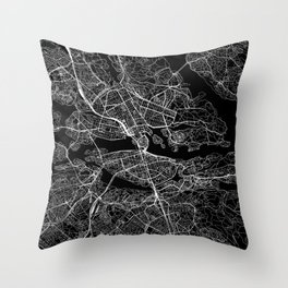 Stockholm Black Map Throw Pillow