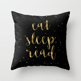 Eat, Sleep, Read (Stars) - Gold Throw Pillow