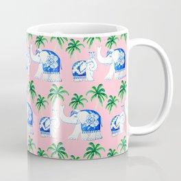 Chinoiserie blue and white porcelain Elephants on pink with palm trees Coffee Mug