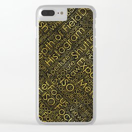 Photography Terms Word Cloud Pattern Gold on Black Clear iPhone Case