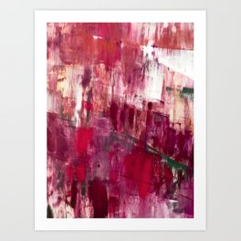 Sunset in the Valley [2]: a colorful abstract piece in reds, pink, gold, gray, and white Kunstdrucke
