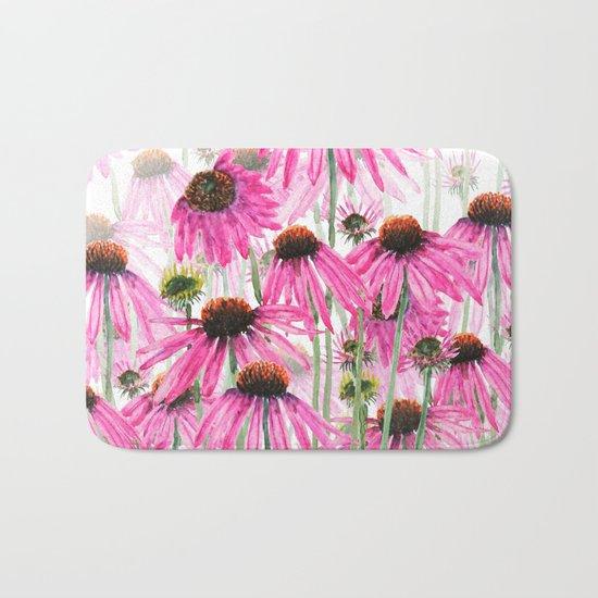 pink coneflower field Bath Mat