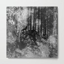 Howling Wolf Crouching Rabbit Metal Print