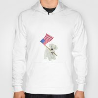 westie Hoodies featuring Original Paper Cutting of Westie With American Flag by Carrie McFerron