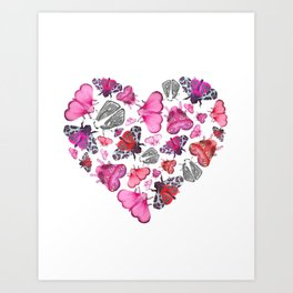 Pink Love of Moths and Butterflies Art Print