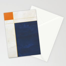 Orange, Blue And White With Golden Lines Abstract Painting Stationery Cards