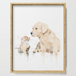 Watercolor Cat and Dog Wall Art | Cat & Dog Transparent Background Serving Tray