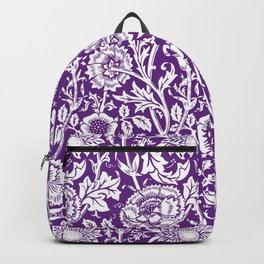 "William Morris Floral Pattern | ""Pink and Rose"" in Purple and White Backpack"