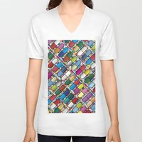pills V-neck T-shirts featuring Colorful Pills by Sr Manhattan