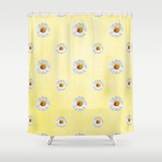 Daisies in love- Yellow Daisy Flower Floral pattern with Ladybug on #Society6 Shower Curtain