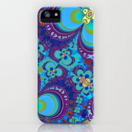 Bright Blue And Purple Flower Pattern iPhone Case