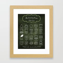 The Laundry Room Fabric Care Guide - Green Framed Art Print