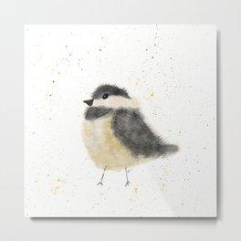 Whimsical Watercolor Chickadee Metal Print