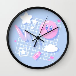 Pink Puff Aesthetic Wall Clock
