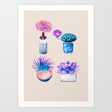 Succulents Cactus pattern Art Print