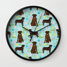 Chocolate Lab labrador retriever dog breed pet art easter pattern costume spring Wall Clock