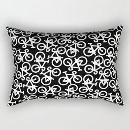 Black and White Bikes Pattern Rectangular Pillow